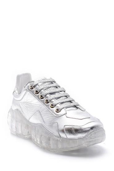 Gümüş Kadın Şeffaf Tabanlı Deri Sneaker 5638148276