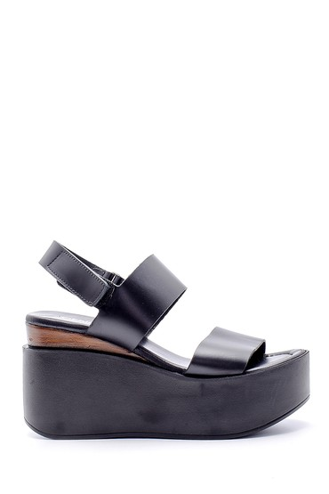 Siyah Kadın Deri Dolgu Topuklu Sandalet 5638160625