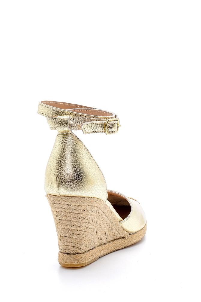 5638160646 Kadın Deri Hasır Detaylı Dolgu Topuklu Sandalet
