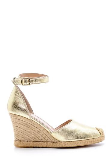 Sarı Kadın Deri Hasır Detaylı Dolgu Topuklu Sandalet 5638160646
