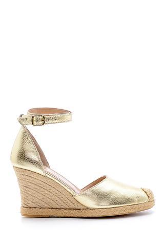 Kadın Deri Hasır Detaylı Dolgu Topuklu Sandalet