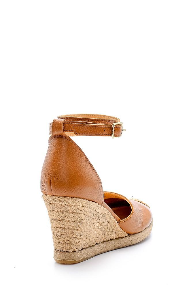5638160650 Kadın Deri Hasır Detaylı Dolgu Topuklu Sandalet