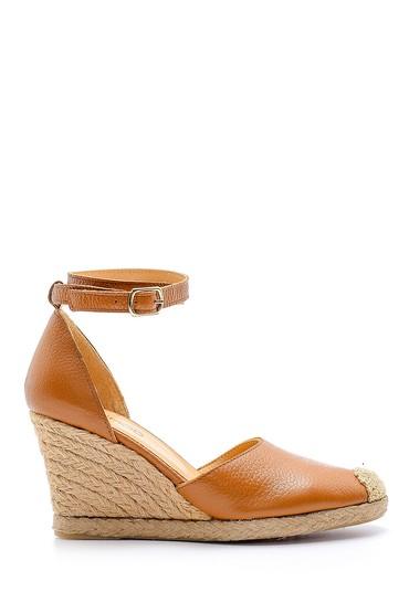 Kahverengi Kadın Deri Hasır Detaylı Dolgu Topuklu Sandalet 5638160650