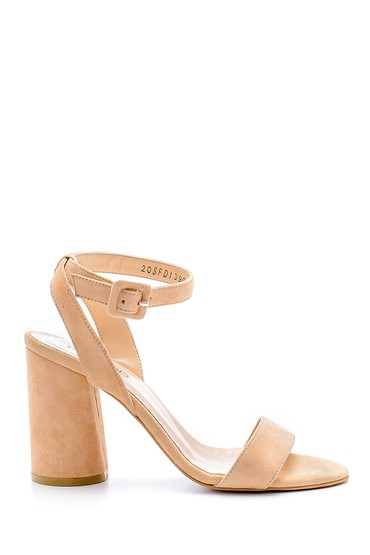 Bej Kadın Süet Deri Kalın Topuklu Sandalet 5638162393