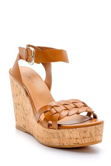 Kahverengi Kadın Deri Dolgu Topuklu Sandalet 5638162483