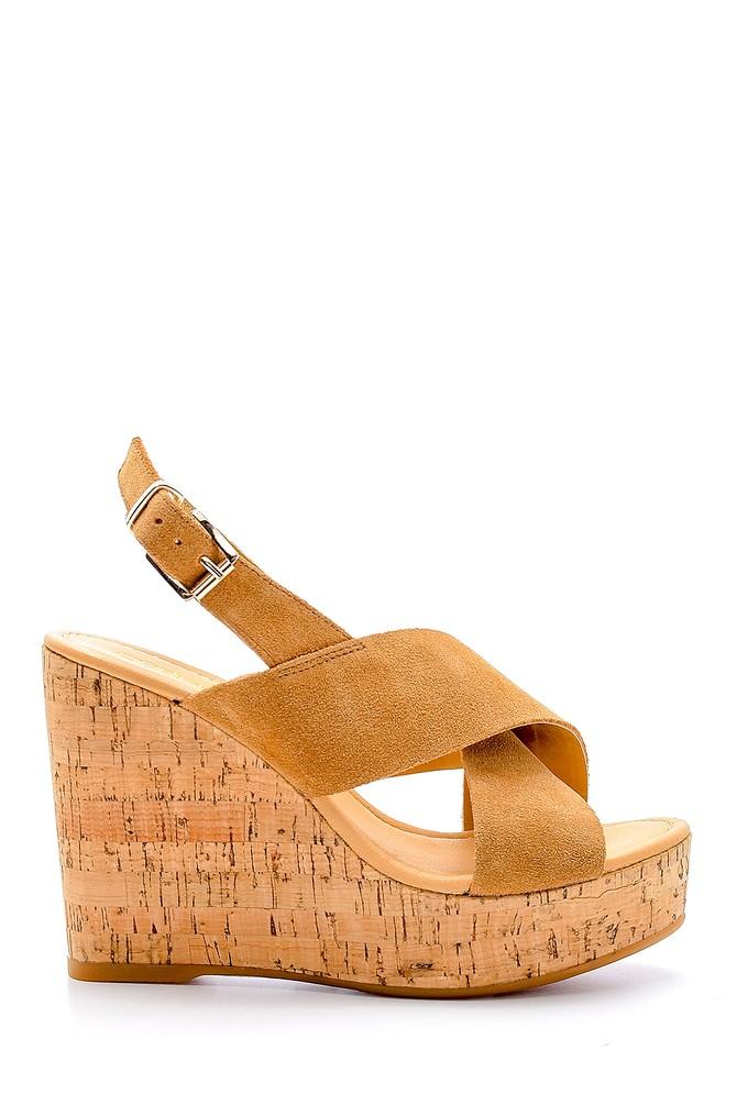 Kahverengi Kadın Süet Deri Dolgu Topuklu Sandalet 5638162509