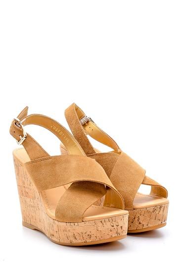 Kahverengi Kadın Süet Deri Dolgu Topuklu Sandalet 5638162505
