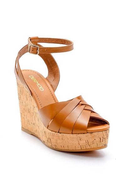 Kahverengi Kadın Deri Dolgu Topuklu Ayakkabı 5638162524