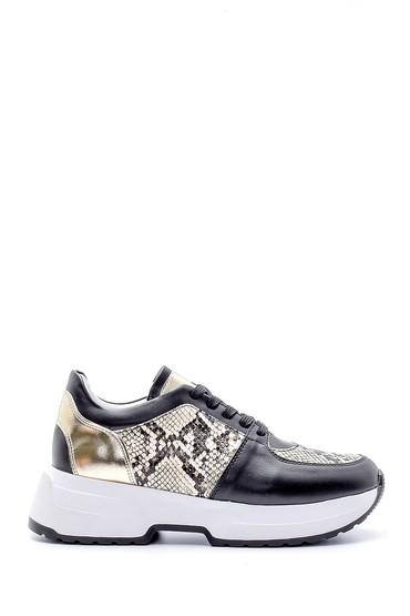 Siyah Kadn Yılan Derisi Detaylı Sneaker 5638159557