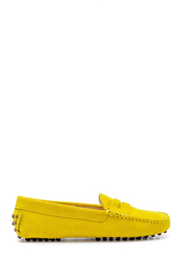 Sarı Kadın Süet Deri Casual Loafer 5638162033