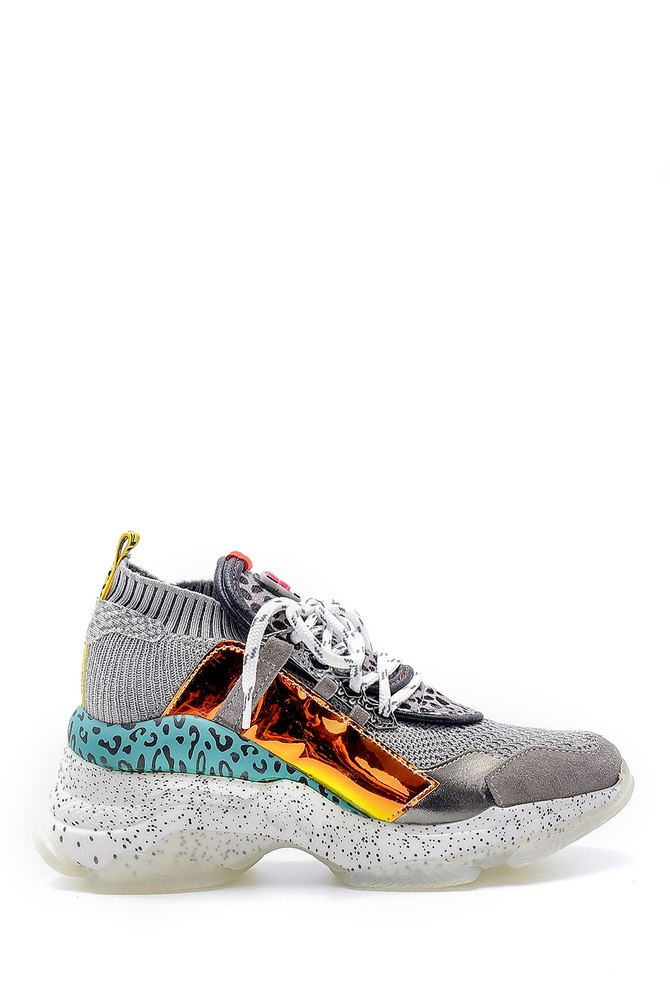 Gri Kadın Yüksek Tabanlı Deri Sneaker 5638175104