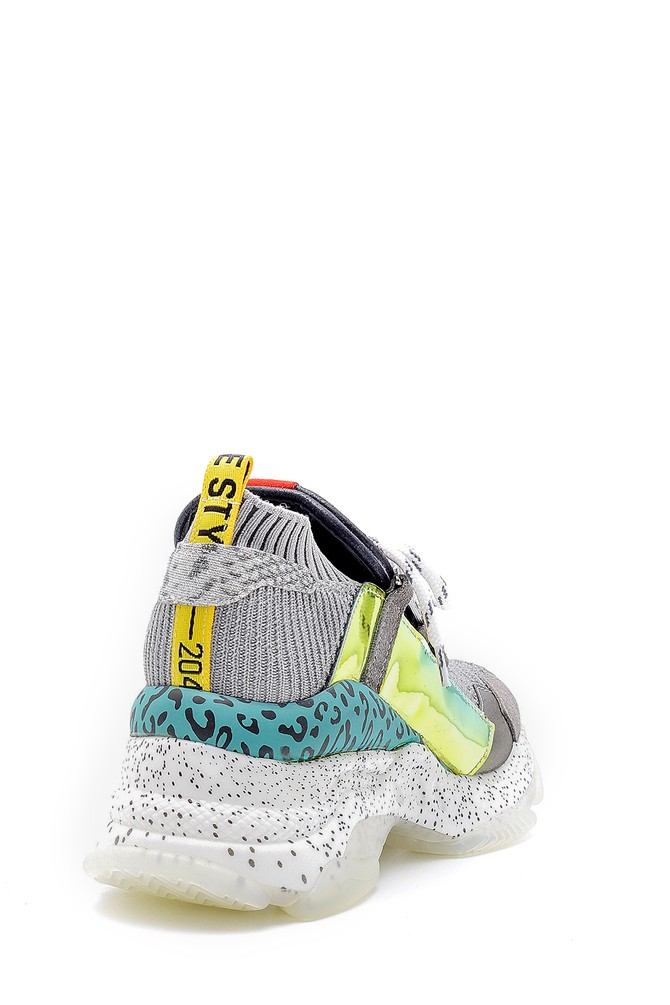 5638175104 Kadın Yüksek Tabanlı Deri Sneaker