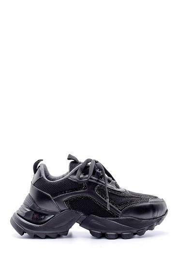 Siyah Kadın Deri Yüksek Tabanlı Sneaker 5638175259