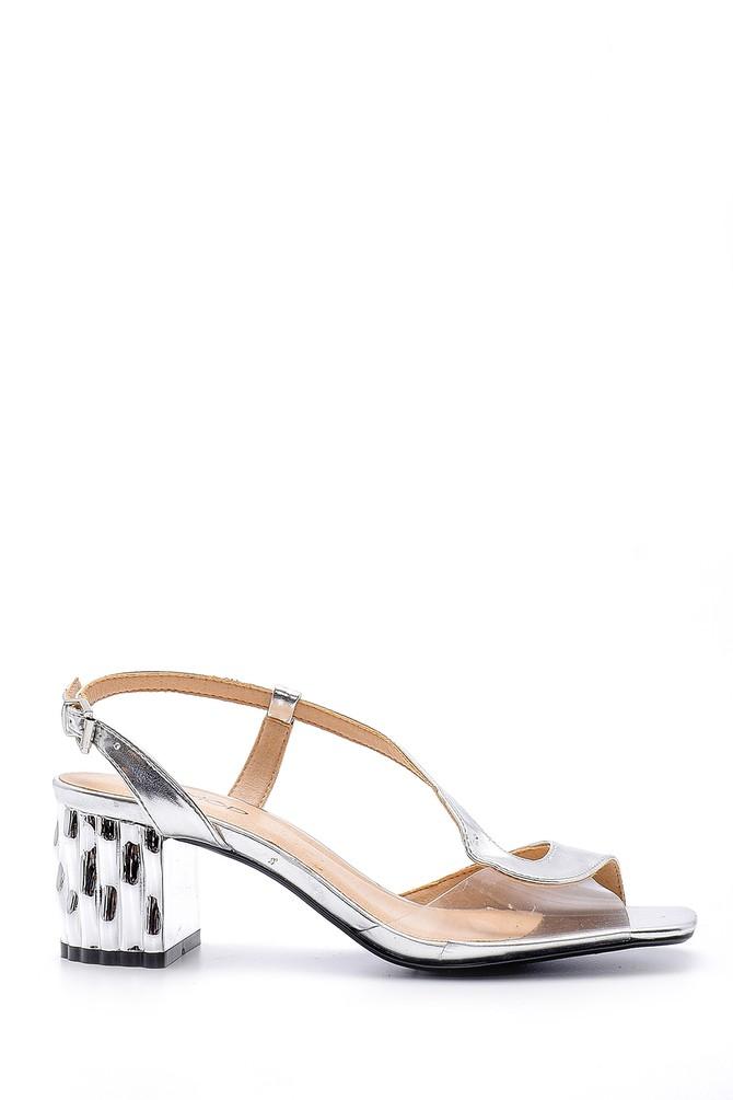 Gümüş Kadın Topuklu Sandalet 5638125702