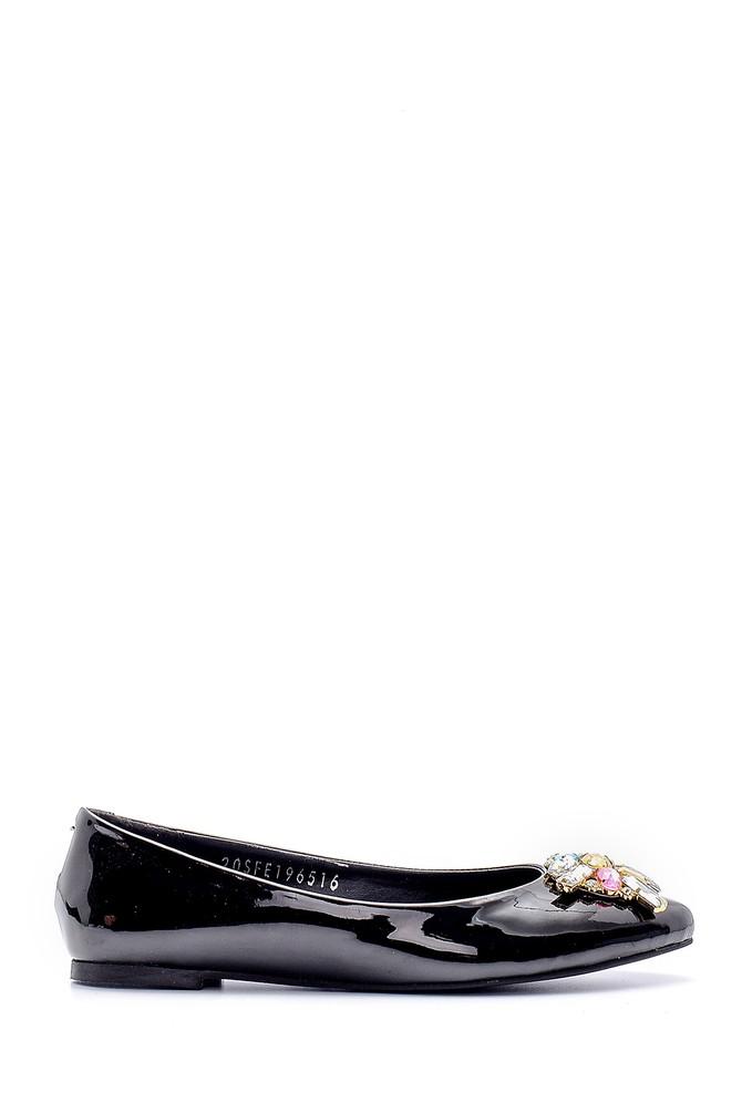 Siyah Kadın Taşlı Rugan Ayakkabı 5638170657