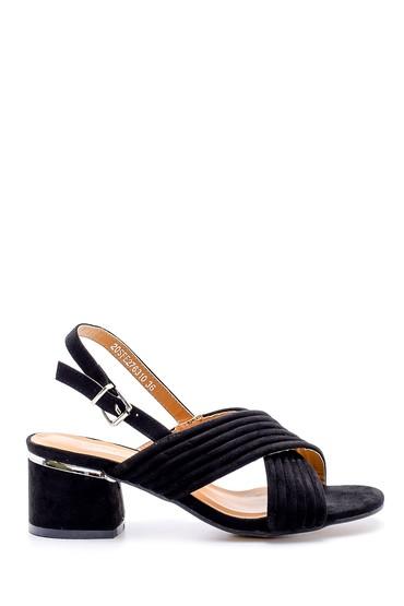 Siyah Kadın Süet Topuklu Sandalet 5638126264
