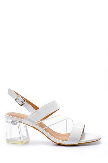 Beyaz Kadın Şeffaf Topuklu Sandalet 5638132900
