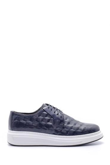 Lacivert Erkek Baskılı Deri Sneaker 5638143810