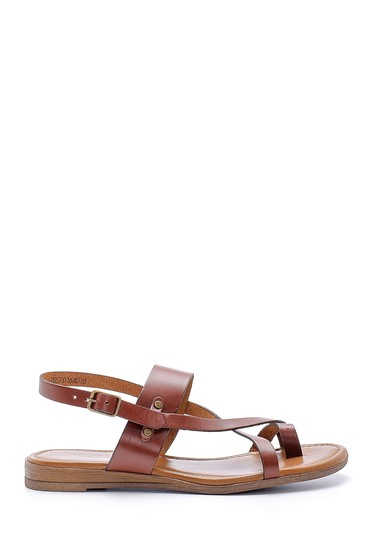 Kahverengi Kadın Deri Sandalet 5638161447