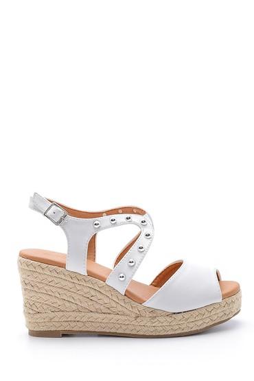Beyaz Kadın Dolgu Topuklu Sandalet 5638135967