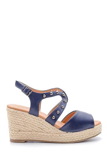 Lacivert Kadın Dolgu Topuklu Sandalet 5638135969