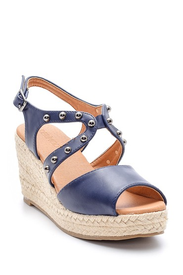 Lacivert Kadın Dolgu Topuklu Sandalet 5638135977