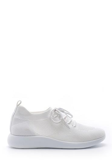 Beyaz Kadın Bağcıklı Çorap Sneaker 5638176529