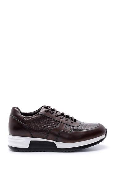 Kahverengi Erkek Kroko Desen Detaylı Deri Sneaker 5638143660
