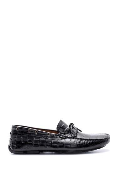 Siyah Erkek Kroko Detaylı Deri Loafer 5638158936