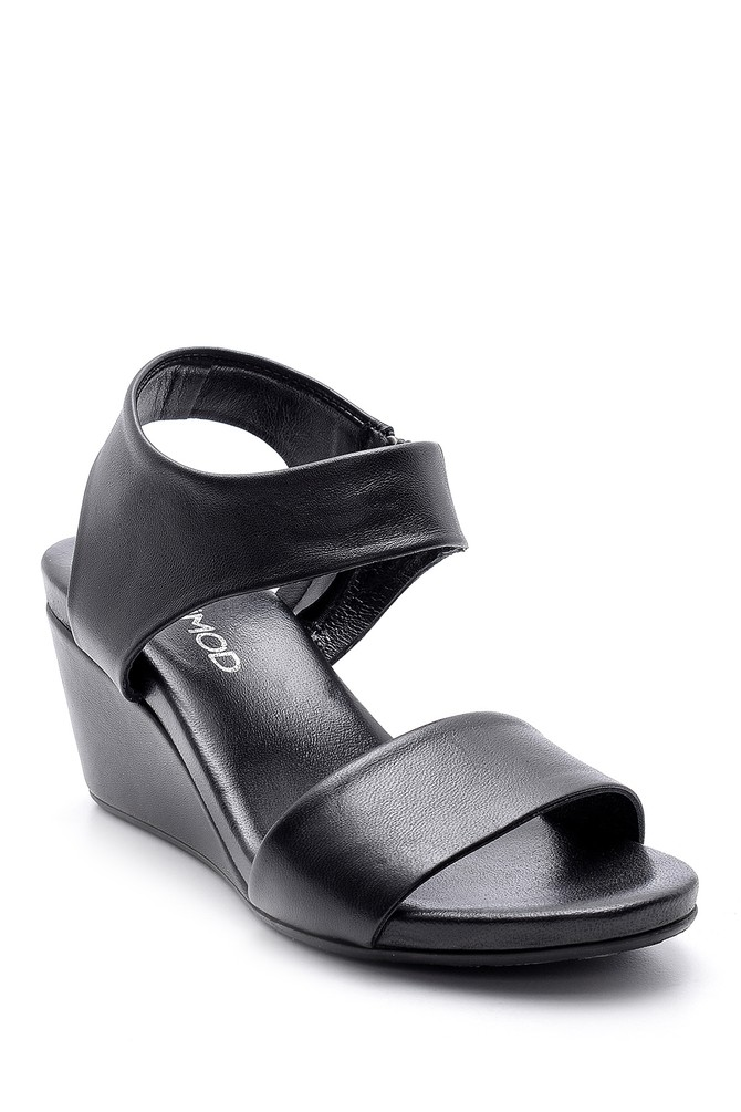 5638153324 Kadın Deri Dolgu Topuklu Sandalet