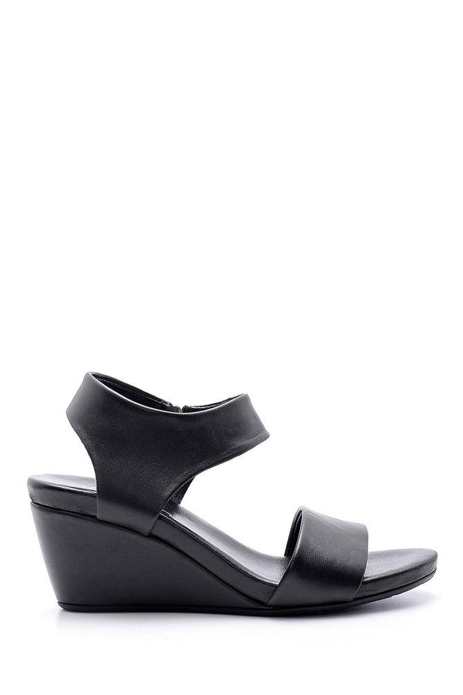 Siyah Kadın Deri Dolgu Topuklu Sandalet 5638153324