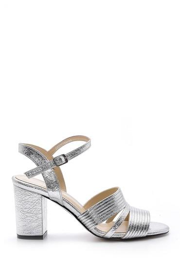 Gümüş Kadın Metalik Topuklu Sandalet 5638155579