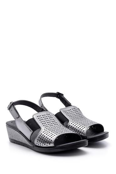Gri Kadın Metalik Sandalet 5638160198