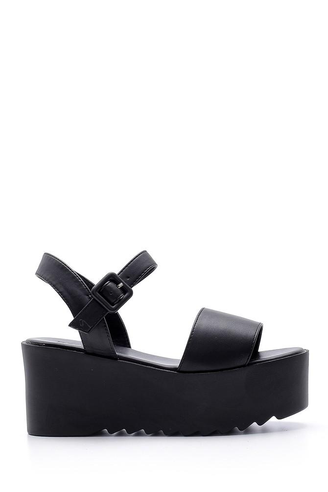 Siyah Kadın Yüksek Tabanlı Sandalet 5638135959