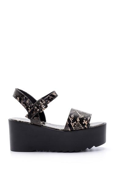 Siyah Kadın Yılan Derisi Desenli Sandalet 5638135932