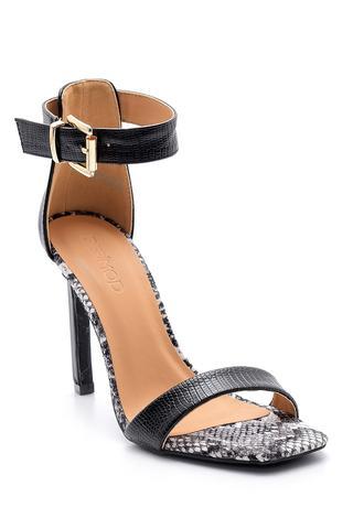 Kadın Yılan Derisi Desenli Topuklu Sandalet