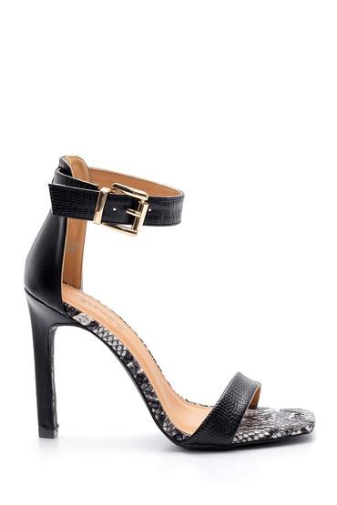 Siyah Kadın Yılan Derisi Desenli Topuklu Sandalet 5638136317