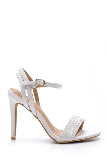 Beyaz Kadın Topuklu Sandalet 5638136426