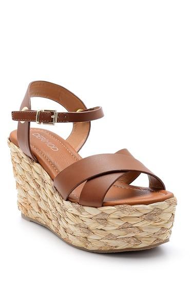 Kahverengi Kadın Dolgu Topuklu Sandalet 5638136538