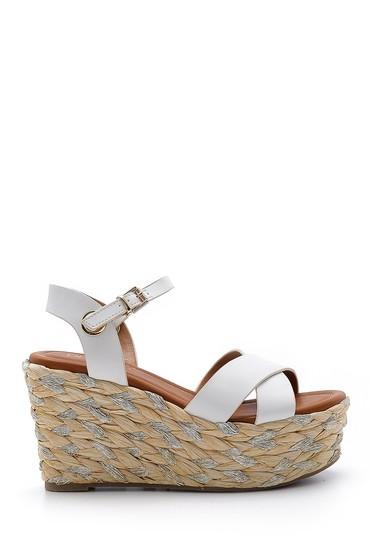 Beyaz Kadın Dolgu Topuklu Sandalet 5638145278
