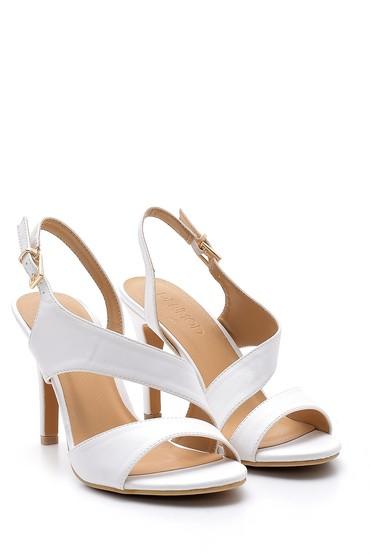 Beyaz Kadın Topuklu Sandalet 5638123799