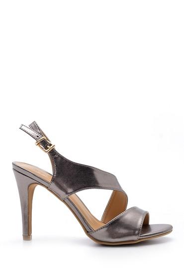 Gri Kadın Metalik Topuklu Sandalet 5638123809