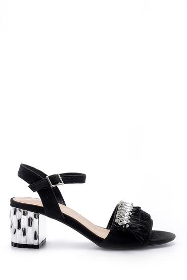 Siyah Kadın İşleme Detaylı Topuklu Sandalet 5638125691