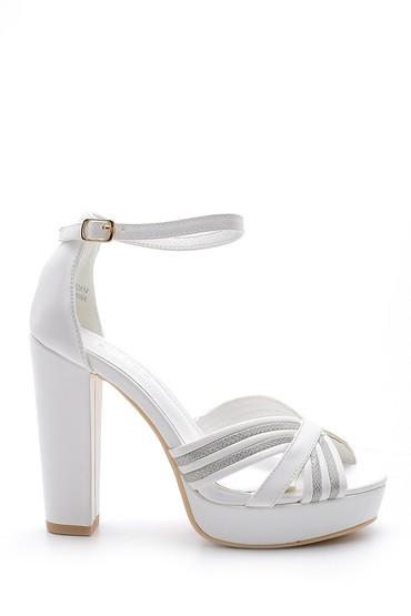 Beyaz Kadın Topuklu Sandalet 5638136160