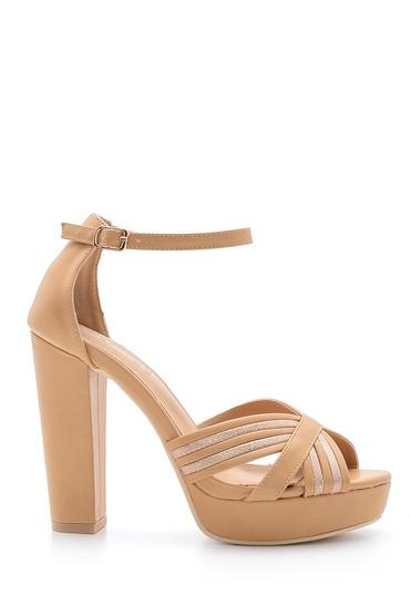 Bej Kadın Topuklu Sandalet 5638136139