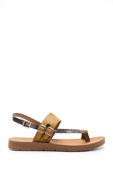 Kahverengi Kadın Yılan Derisi Detaylı Sandalet 5638126132