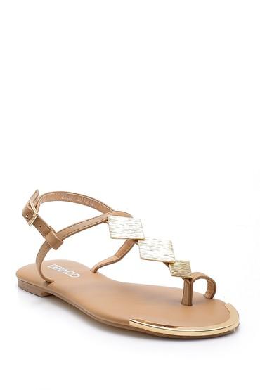 Kahverengi Kadın Metal Detaylı Sandalet 5638128601