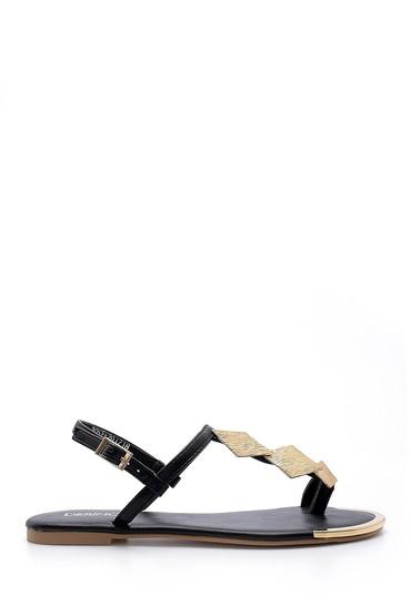 Siyah Kadın Metal Detaylı Sandalet 5638128591