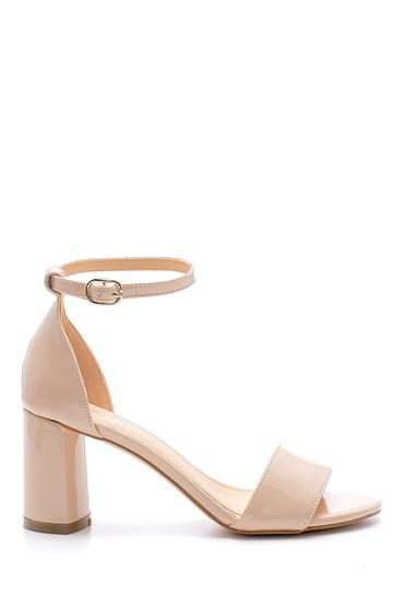 Bej Kadın Kalın Topuklu Sandalet 5638128890
