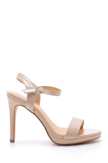 Bej Kadın Rugan Topuklu Ayakkabı 5638128986
